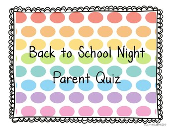 Back to School Night Parent Quiz