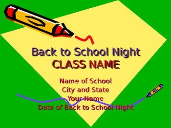 Back to School Night PowerPoint Presentation