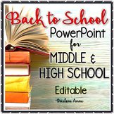 BACK TO SCHOOL / MEET THE TEACHER POWER-POINT FOR MIDDLE & HIGH SCHOOL