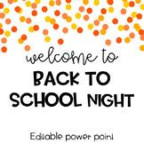 Back to School Night Powerpoint-Editable