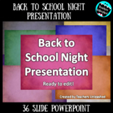 Back to School Night - Open House - Meet the Teacher PowerPoint {Editable}