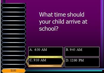 Back to School Night Presentation - Who Wants to be a Millionaire *EDITABLE