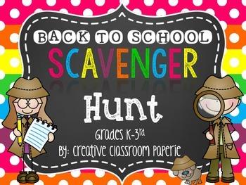 Back to School Night Scavenger Hunt {Grades K-3rd}