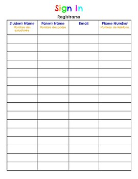 Back to School Night Sign In Sheet