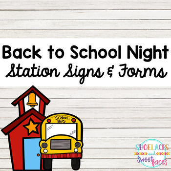 Back to School Night Signs and Forms