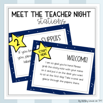Back to School/Meet the Teacher Night Stations (EDITABLE) Space Theme