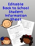 Back to School Night Student Information Sheet EDITABLE