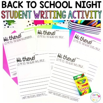 Back to School Night Student Writing Activity