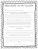 Back to School Night Student and Parent letters