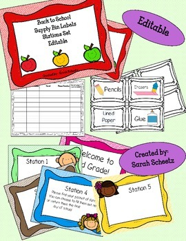 Back to School Night Supply Bin Labels and Stations Set -