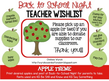 Back-to-School Night Teacher Wishlist Apples
