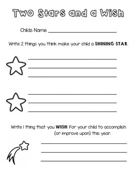 Back to School Night Two Stars and a Wish Parent Form