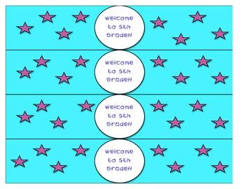 Back to School Night Water Bottle Labels - 5th Grade