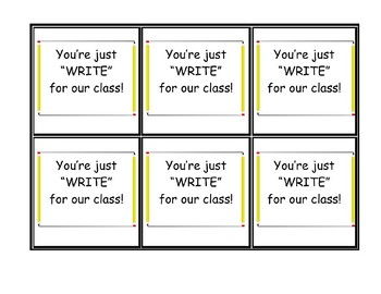 """Back to School Night Welcome Gift, Pencil, Just """"Write"""" For Our Class"""