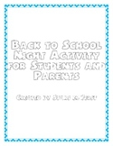 Back to School Night activity for students and parents