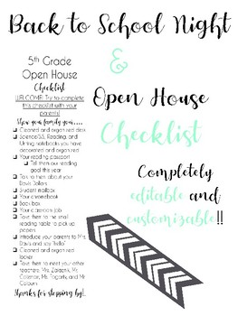 Back to School Night and Open House Checklist