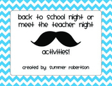 Back to School Night or Meet the Teacher Night Mustache Themed Scavenger Hunt