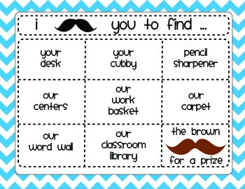 Back to School Night or Meet the Teacher Night Mustache Themed Scavenger Hunt
