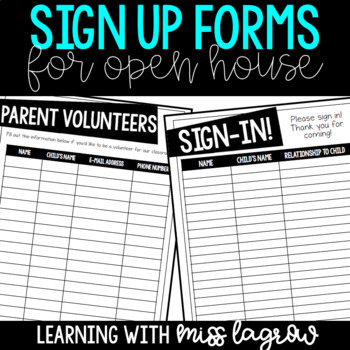 Back to School Night or Open House Sign In and Volunteer Forms
