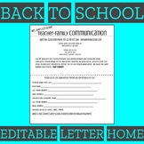 Back to School Night- parent letter