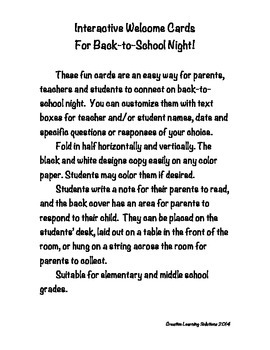 Back-to-School Night:Reproducible Parent Student Welcome Cards