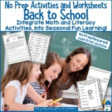 Back to School No Prep Literacy and Math