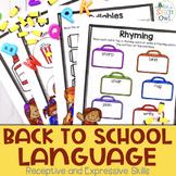 Back to School No Prep Receptive and Expressive Language W
