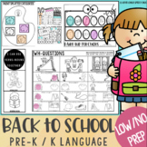 Back to School Speech Therapy Activities: No Prep