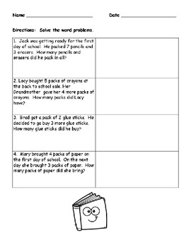 Back to School No Prep Worksheets