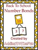 Back to School Number Bond Worksheets