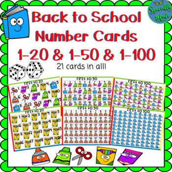 Back to School Number Cards 1-20 First to 20 Number Recognition Counting Game
