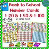 Back to School Number Cards First to 20 50 1-20 1-50 Numbe