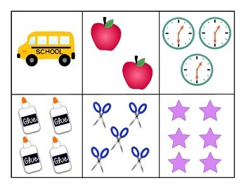 Back to School Number Matching Game 1-10