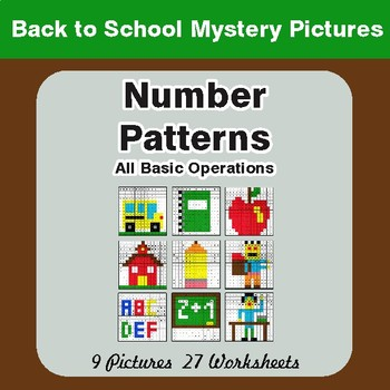 Back to School: Number Patterns: Misc Operations - Math Mystery Pictures