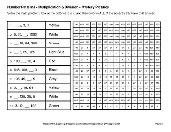 Back to School: Number Patterns: Multiplication & Division - Mystery Pictures