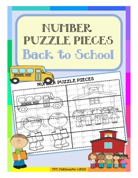 Back to School - Number Puzzle Pieces EASY PREP