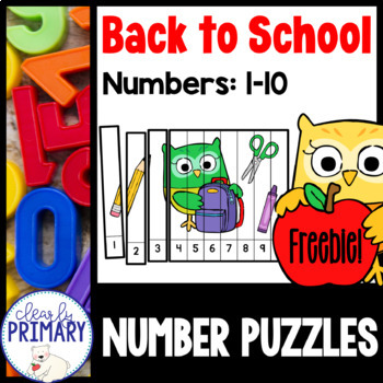 Back to School Number Puzzles 1-10: Free