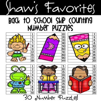 Back to School Skip Counting Number Puzzles {30 Number Puzzles}