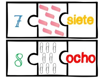 Back to School Number Puzzles in Spanish