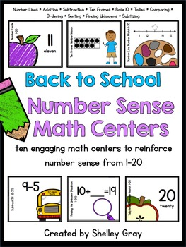 Back-to-School Number Sense Math Centers {for numbers 1-20}