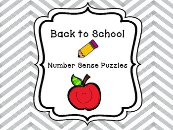 Back to School Number Sense Puzzle