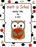 Back to School - Number Talks for Grades K-1