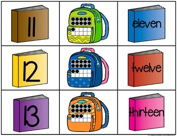 Back to School Number, Ten Frame & Number Word Match Game