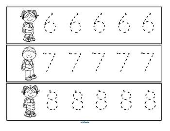 Back to School Number Tracing 0-10 Fine Motor Preschool Kindergarten
