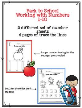 Back to School Number Worksheets
