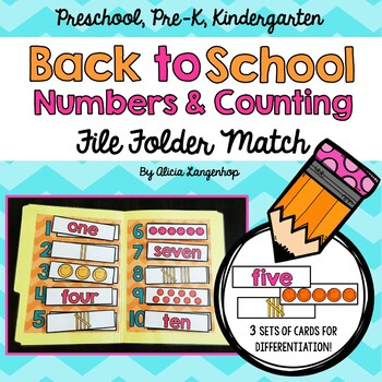 Back to School Numbers and Counting File Folder Match