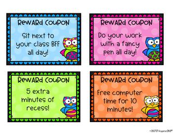 Back to School OWL THEME Reward Coupons