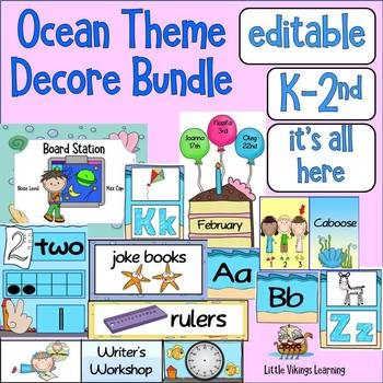 Ocean themed class decor EDITABLE bundle