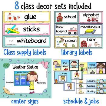 Ocean themed class decor EDITABLE bundle