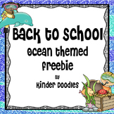 Back to School Ocean Themed Freebie